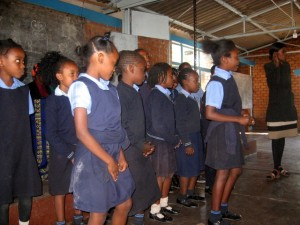 Pupils singing at the launch